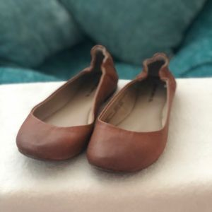 Faux leather ballerina flats